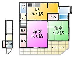 東京都江戸川区一之江8丁目の賃貸アパートの間取り