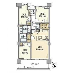 JR山手線 品川駅 徒歩11分の賃貸マンション 15階3LDKの間取り