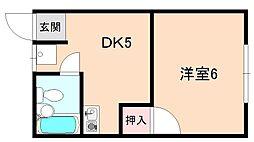 大阪府豊中市螢池中町4丁目の賃貸アパートの間取り