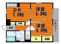 岡山県倉敷市昭和1丁目の賃貸アパートの間取り