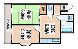 アーバンハイツ三箇[2階]の間取り
