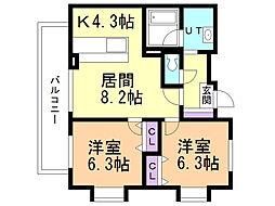 レクシオ北円山 7階2LDKの間取り