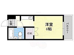 Osaka Metro今里筋線 蒲生四丁目駅 徒歩6分の賃貸マンション 2階1Kの間取り