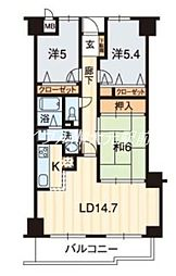 サーパス鹿田[3階]の間取り
