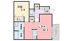 兵庫県姫路市兼田の賃貸アパートの間取り