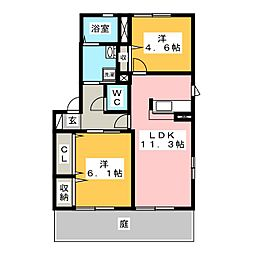 ラカーサフェリス C棟[1階]の間取り
