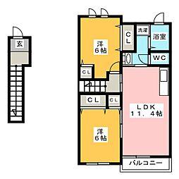 ラフィネK[2階]の間取り