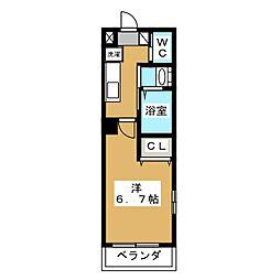 ミラージュ新子安 4階1Kの間取り