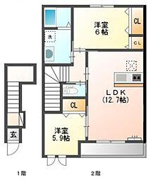 兵庫県高砂市中島2丁目の賃貸アパートの間取り