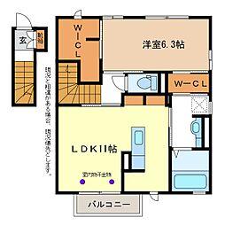 JR信越本線 長野駅 徒歩23分の賃貸アパート 2階1LDKの間取り