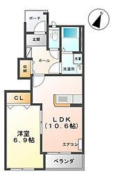 富山県富山市上冨居2丁目の賃貸アパートの間取り