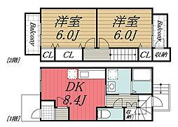 [テラスハウス] 千葉県市原市青柳 の賃貸【千葉県 / 市原市】の間取り