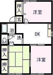 佐賀県唐津市神田の賃貸アパートの間取り