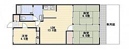 コーポ三上[2階]の間取り
