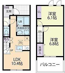 Luana(ルアナ)レジデンスB 2階2LDKの間取り
