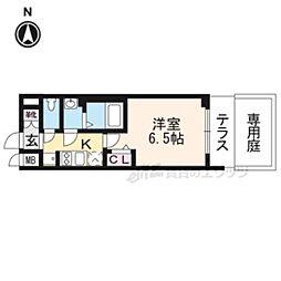 JR山陰本線 二条駅 徒歩15分の賃貸マンション 1階1Kの間取り