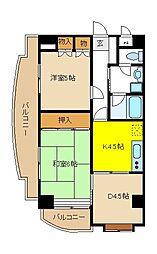 東京メトロ東西線 葛西駅 徒歩26分の賃貸マンション 2階3Kの間取り