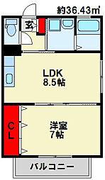 福岡県北九州市小倉南区湯川新町1丁目の賃貸アパートの間取り