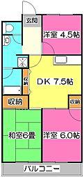 ドミール所沢I[3階]の間取り