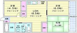 仙台市営南北線 北四番丁駅 徒歩11分の賃貸マンション 4階3LDKの間取り