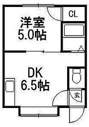 グランステージ南円山[202号室]の間取り