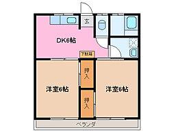 葉月アパートメント B棟[2階]の間取り