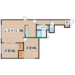 北海道札幌市東区北五十一条東2丁目の賃貸アパートの間取り