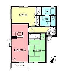 ヴィラグレイスA[2階]の間取り