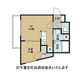 アレックス野幌II 4階1DKの間取り