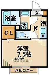 京王線 百草園駅 徒歩5分の賃貸アパート 1階1Kの間取り