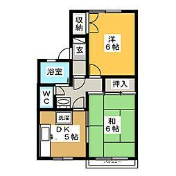 ガーデンハウスハマノA[1階]の間取り