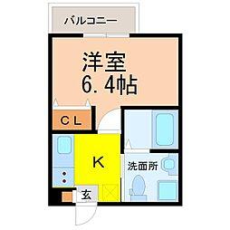 愛知県名古屋市守山区茶臼前の賃貸アパートの間取り