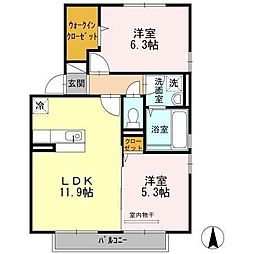 宮崎県宮崎市新城町の賃貸アパートの間取り