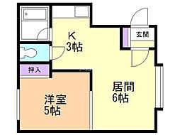 プチメゾンアール 2階1DKの間取り