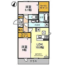 仮称)D−room郡津[3階]の間取り