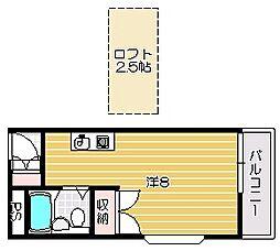 大阪府茨木市中村町の賃貸マンションの間取り