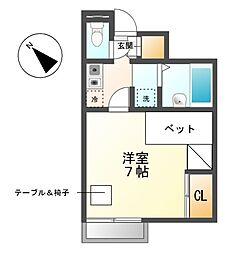 愛知県名古屋市天白区土原4丁目の賃貸アパートの間取り