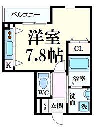 HCフラッツ六甲高羽I 2階ワンルームの間取り