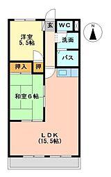西野ハイツ[3階]の間取り