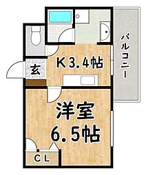 Osaka Metro谷町線 喜連瓜破駅 徒歩7分の賃貸マンション 6階1Kの間取り