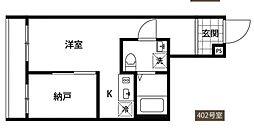 ポルトグランデ四谷三丁目 4階1SKの間取り