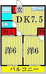 松丸ハイツ 6号棟[2階]の間取り