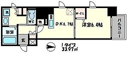 プレサンスタワー北浜[2階]の間取り