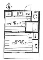 コーポカーサミア[1階]の間取り