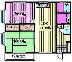 埼玉県さいたま市緑区東浦和6丁目の賃貸アパートの間取り