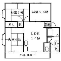ハイツ小田[2階]の間取り
