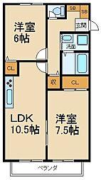 大阪府枚方市翠香園町の賃貸アパートの間取り