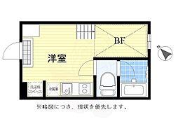 京王線 仙川駅 徒歩11分の賃貸アパート 2階ワンルームの間取り