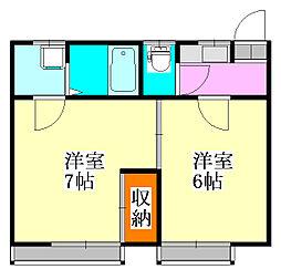 柚原荘[1号室]の間取り