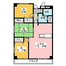 ライフ第5マンション大平台[2階]の間取り